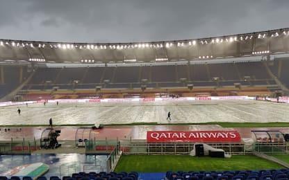 Diluvio su Roma, ma gara con Juve non è a rischio