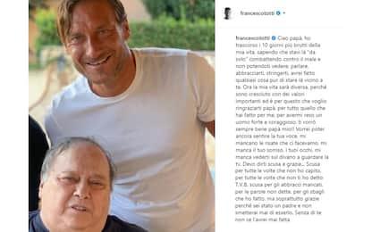 """La lettera di Totti a papà Enzo: """"Ciao sceriffo"""""""