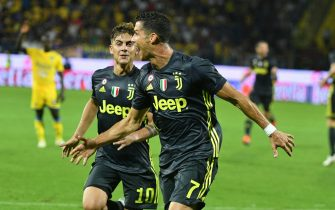 Juventus' Cristiano Ronaldo celebrates with Paulo Dybala after scoring 1-0 goal during the italian Serie A soccer match between Frosinone Calcio and Juventus FC at Benito Stirpe stadium in Frosinone, Italy, 23 September 2018. ANSA/FEDERICO PROIETTI