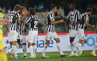 Players of Juventus jubilate for the Chievo's autogoal during the Italian Serie A soccer match AC Chievo vs Juventus FC at Bentegodi stadium in Verona, Italy, 25 September 2013.