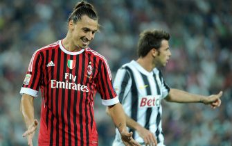 Swedish forward of Ac Milan, Zlatan Ibrahimovic (L), during the Italian Serie A soccer match against Juventus Fc at 'Juventus stadium' in Turin, Italy on 02 October 2011. 