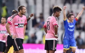 Giorgio Chiellini of Juventus (L) reacts during Italian Serie A soccer match at the Juventus stadium in Turin, 23 September 2015. ANSA/DI MARCO