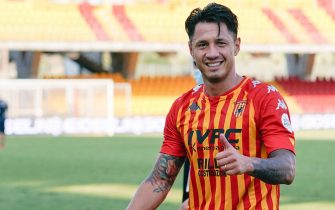 Benevento's Gianluca Lapadula smiles  at the end of the Italian Serie A soccer match Benevento Calcio vs Bologna FC at Ciro Vigorito stadium in Benevento, Italy, 04 October 2020. ANSA / MARIO TADDEO