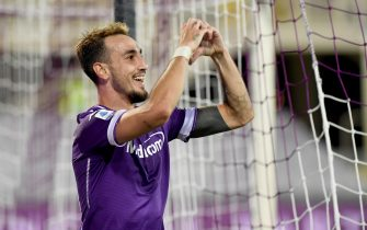 Fiorentina's midfielder Gaetano Castrovilli celebrates after scoring during the Italian Serie A soccer match between ACF Fiorentina and Torino FC at the Artemio Franchi stadium in Florence, Italy, 19 September 2020ANSA/CLAUDIO GIOVANNINI