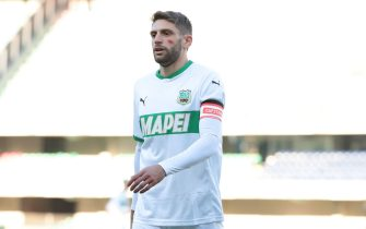 Sassuolo's Domenico Berardi in action during the Italian Serie A soccer match Hellas Verona  vs US Sassuolo at Marcantonio Bentegodi stadium in Verona, Italy, 22 november 2020. 