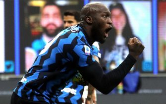 Inter MilanÕs Romelu Lukaku  jubilates after scoring goal of of 2  to 2   during the Italian serie A soccer match  Fc Inter and Torino Fc at Giuseppe Meazza stadium in Milan 22 November  2020.