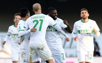 Il Sassuolo vola, 2-0 a Verona. Colpo del Bologna