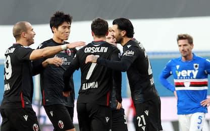 Il Bologna ribalta la Sampdoria: a Marassi è 1-2
