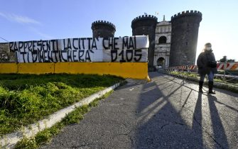 A banner reading ''You represent the city that will never forget you'' has been placed in front of the Maschio Angioino castle by Diego Armando Maradona's fans in Naples, Italy, 26 November 2020. Maradona died on 25 November after a heart attack.ANSA / CIRO FUSCO