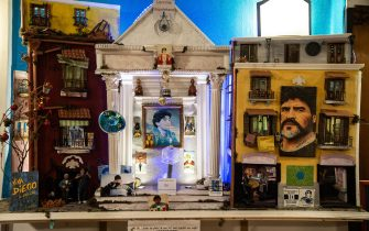 NAPLES, ITALY - NOVEMBER 26: The box where a hair lock of Diego Armando Maradona is kept at the Bar Nilo owned by Bruno Alcidi, where he keeps a temple dedicated to the late soccer player on November 26, 2020 in Naples, Italy. Diego Armando Maradona died at 60 after a cardiocirculatory arrest while he was at his house in Tigre, Argentina, where he was spending his convalescence after brain surgery three weeks before. (Photo by Ivan Romano/Getty Images)
