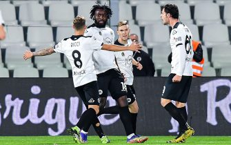 SpeziaÕs French forward M'Bala Nzola (2nd from left) celebrates with his team-mates after scoring a goal during the Italian Serie A soccer match Spezia Calcio vs Genoa Cfc at Alberto Picco stadium in La Spezia, Italy, 23 December 2020