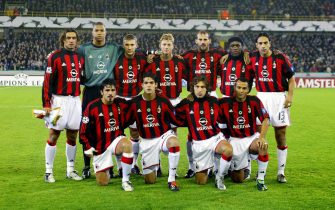 AC Milan's players pose for a team picture at the beginning of their UEFA Champions League soccer match Club Brugge vs AC Milan, Tuesday, 04 November 2003, in Brugge. Milan defeated Brugge 0-1. From L-R (back row) Paolo Maldini, goal keeper Dida, Jon Dahl Tomasson, Andriy Shevchenko, Giuseppe Pancaro, Clarence Seedorf, Alessandro Nesta (front row) Gennaro Gattuso, Kaka, Andrea Pirlo and Cafu.  EPA/BOUCAU-THYS-DE VOECHT