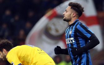 Inter's defender Danilo D'Ambrosio celebrates after scoring the 1-0 goal during the Italian Serie A soccer match between Fc Internazionale and Uc Sampdoria at the Giuseppe Meazza stadium in Milan, 20 February 2016.ANSA / MATTEO BAZZI