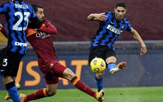Inter's Achraf Hakimi scores a goal for Inter during the Serie A soccer match between AS Roma and FC Inter at the Olimpico stadium in Rome, Italy, 10 January 2021. ANSA/RICCARDO ANTIMIANI