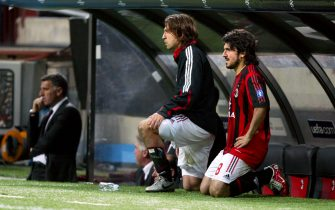 AC Milan's Andrea Pirlo and Gennaro Gattuso watch from the bench  (Photo by Mike Egerton - PA Images via Getty Images)