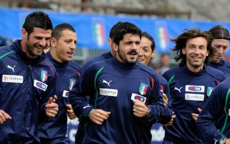 TURIN, ITALY - MAY 28:  Vincenzo Iaquinta, Angelo Palombo, Gennaro Gattuso, Mauro German Camoranesi and Andrea Pirlo of Italy during a training session on May 28, 2010 in Sestriere near Turin, Italy.  (Photo by Claudio Villa/Getty Images)