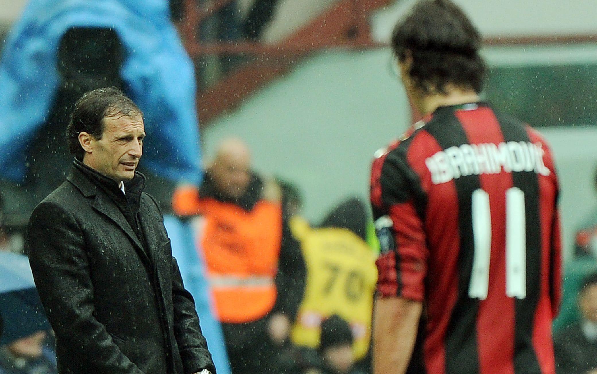 Ibrahimovic e Allegri al Milan nel 2010-11
