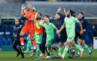 S.S. Lazio players celebrating after the victory during Atalanta BC vs SS Lazio , Italian football Serie A match in Bergamo, Italy, January 31 2021