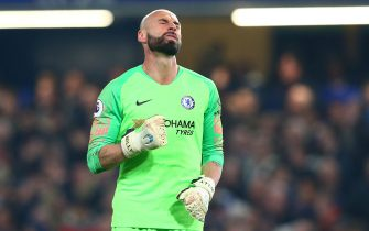 Willy Caballero of Chelsea celebrates the first goal during the Premier League match at Stamford Bridge Stadium, London. Picture date: 27th February 2019. Picture credit should read: Craig Mercer/Sportimage via PA Images