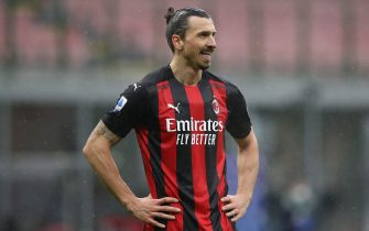 Zlatan Ibrahimovic of AC Milan reacts during the Serie A match at Giuseppe Meazza, Milan. Picture date: 7th February 2021. Picture credit should read: Jonathan Moscrop/Sportimage via PA Images