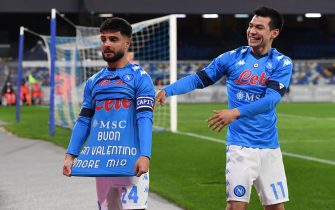 Napoli's forward Lorenzo Insigne (L) celebrates showing a t-shirt (Happy Valentine's day my love) after scoring from the penalty spot the 1-0 goal      during  italian Serie A  soccer  match   SSc Napoli vs  Juventus FC  at the Diego Armando Maradona stadium in Naples, Italy , 13 february 2021. ANSA / CIRO FUSCO