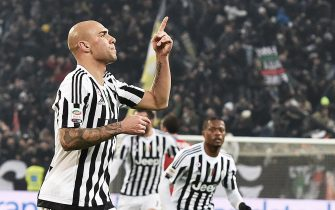 Simone Zaza of Juventus exults after scoring the winning goal of 1-0 during the italian serie A soccer match Juventus FC - SSC Napoli at Juventus Stadium, Turin, 13 February 2016. ANSA / ANDREA DI MARCO