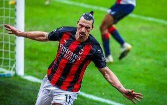 Zlatan Ibrahimovic of AC Milan celebrates after scoring 500 goals with clubs