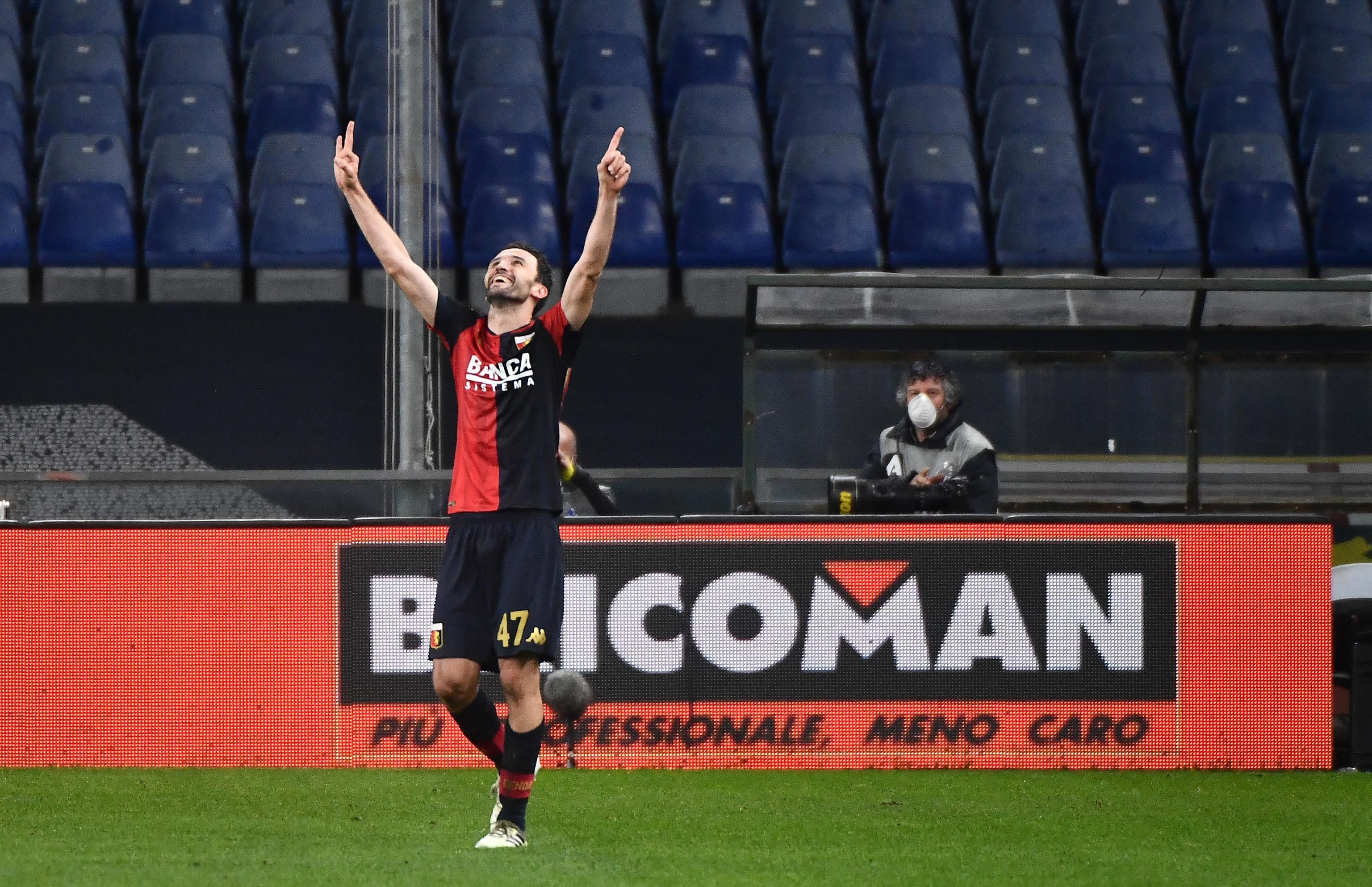 Genoa's Milan Badelj jubilates after scoring the gol during the Italian Serie A match Genoa Cfc vs Hellas Verona Football Club 1903 at Luigi Ferraris stadium in Genoa, Italy, 20 February 2021.ANSA/LUCA ZENNARO