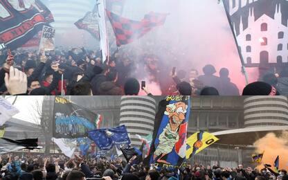 Derby, migliaia di tifosi fuori da San Siro. VIDEO