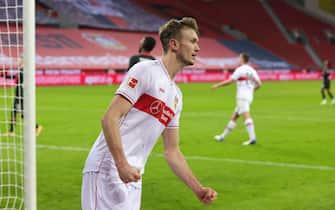 firo: 06.02.2021, Soccer: Soccer: 1st Bundesliga, season 2020/21 Bayer 04 Leverkusen - VfB Stuttgart 5: 2 jubilation to 4: 2 for Stuttgart, Sasa KALAJDZIC | usage worldwide