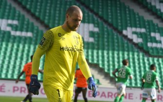 goalkeeper Reims RAJKOVIC Predrag during the French L1 football match AS Saint-Etienne (ASSE) vs Stade de Reims (SR) on February 20, 2021, at the Geoffroy Guichard stadium in Saint-Etienne.//ALLILIMOURAD_1.0254/2102210839/Credit:Mourad ALLILI/SIPA/2102210845