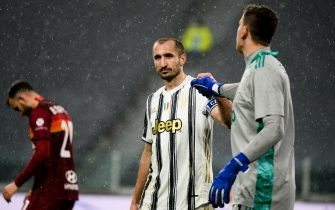 Giorgio Chiellini of Juventus FC and Wojciech Szczesny of Juventus FCduring the Serie A football match between Juventus and AS Roma. Sporting stadiums around Italy remain under strict restrictions due to the Coronavirus Pandemic as Government social distancing laws prohibit fans inside venues resulting in games being played behind closed doors. Juventus FC won 2-0 over AS Roma. Turin, Italy on Feb. 6, 2021. (Photo by Alberto Gandolfo/Pacific Press/Sipa USA)