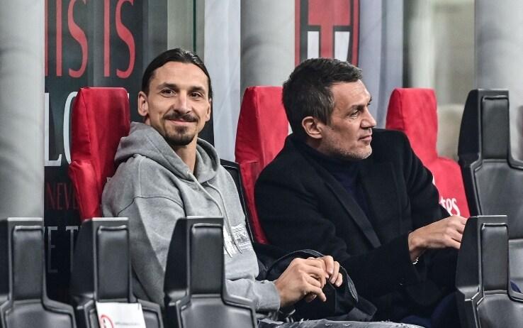 Ibrahimovic in tribuna a San Siro assieme Maldini durante Milan-Udinese