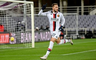 Genoa's midfielder Marko Pjaca celebrates after scoring during the Italian Serie A soccer match between ACF Fiorentina and Genoa Cfc at the Artemio Franchi stadium in Florence, Italy, 7 December 2020ANSA/CLAUDIO GIOVANNINI
