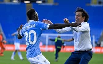 Felipe Caicedo and Simone Inzaghi of S.S. Lazio celebrate a goal during the 2020–21 Serie A Italian Championship League match between S.S. Lazio and Juventus F.C. at Stadio Olimpico.Final score; S.S. Lazio 1:1 Juventus F.C. (Photo by Fabrizio Corradetti / SOPA Images/Sipa USA)