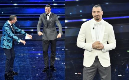 "Sanremo, Ibrahimovic arriva in ""moto"" sul palco"