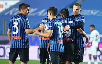 Atalanta's Josip Ilicic celebrates after goal 4-1 during the Italian Serie A soccer match Atalanta BC vs Crotone at the Gewiss Stadium in Bergamo, Italy, 3 March 2021.ANSA/PAOLO MAGNI