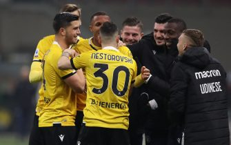 Rodrigo Becao of Udinese Calcio celebrates with team mates after scoring to give the side a 1-0 lead during the Serie A match at Giuseppe Meazza, Milan. Picture date: 3rd March 2021. Picture credit should read: Jonathan Moscrop/Sportimage via PA Images