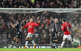 MANCHESTER, ENGLAND - JANUARY 12: Cristiano Ronaldo of Manchester United celebrates scoring their third goal during the Barclays FA Premier League match between Manchester United and Newcastle United at Old Trafford on January 12 2008 in Manchester, England. (Photo by Chris Coleman/Manchester United via Getty Images)
