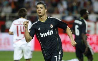 SEVILLE, SPAIN - MAY 07:  Cristiano Ronaldo of Real Madrid celebrates after scoring Real's fourth goal during the La Liga match between Sevilla and Real Madrid at Estadio Ramon Sanchez Pizjuan on May 7, 2011 in Seville, Spain.  (Photo by Victor Carretero/Real Madrid via Getty Images)