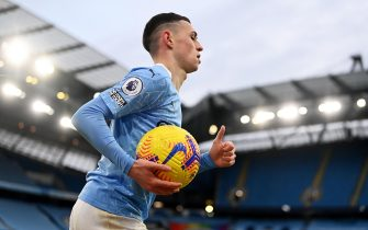 epa08975500 Phile Foden of Manchester City during the English Premier League soccer match between Manchester City and Sheffield United in Manchester, Britain, 30 January 2021.  EPA/Laurence Griffiths / POOL EDITORIAL USE ONLY. No use with unauthorized audio, video, data, fixture lists, club/league logos or 'live' services. Online in-match use limited to 120 images, no video emulation. No use in betting, games or single club/league/player publications.
