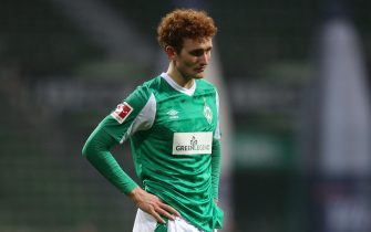 epa08915606 Josh Sargent of Werder Bremen reacts during the German Bundesliga soccer match between SV Werder Bremen and 1. FC Union Berlin in Bremen, Germany, 02 January 2021.  EPA/Cathrin Mueller / POOL DFL regulations prohibit any use of photographs as image sequences and/or quasi-video.