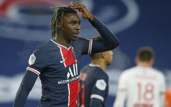 epa08929271 Paris Saint Germain's Moise Kean reacts after scoring a goal during the French Ligue 1 soccer match between PSG and Brest at the Parc des Princes stadium in Pa?ris, France, 09 January 2021.  EPA/YOAN VALAT