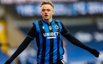 Club's Noa Lang celebrates after scoring during a soccer match between Club Brugge and Standard de Liege, Sunday 31 January 2021 in Brugge, on day 23 of the 'Jupiler Pro League' first division of the Belgian championship. BELGA PHOTO BRUNO FAHY (Photo by BRUNO FAHY/Belga/Sipa USA)