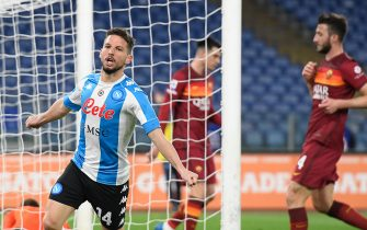 Dries Mertens of SSC Napoli in action during Italian Serie A soccer match between AS Roma and SSC Napoli at Stadio Olimpico on March 21, 2021, in Rome, Italy. (Photo by Roberto Ramaccia / INA Photo Agency)