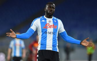 Kalidou Koulibaly of Napoli in action during the serie A soccer match As Roma vs SSC Napoli in the Olympic stadium in Rome, Italy, 21 March 2021. Fotografo01