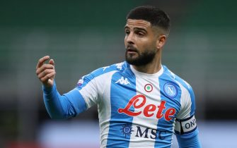 Lorenzo Insigne of SSC Napoli reacts during the Serie A match at Giuseppe Meazza, Milan. Picture date: 14th March 2021. Picture credit should read: Jonathan Moscrop/Sportimage via PA Images