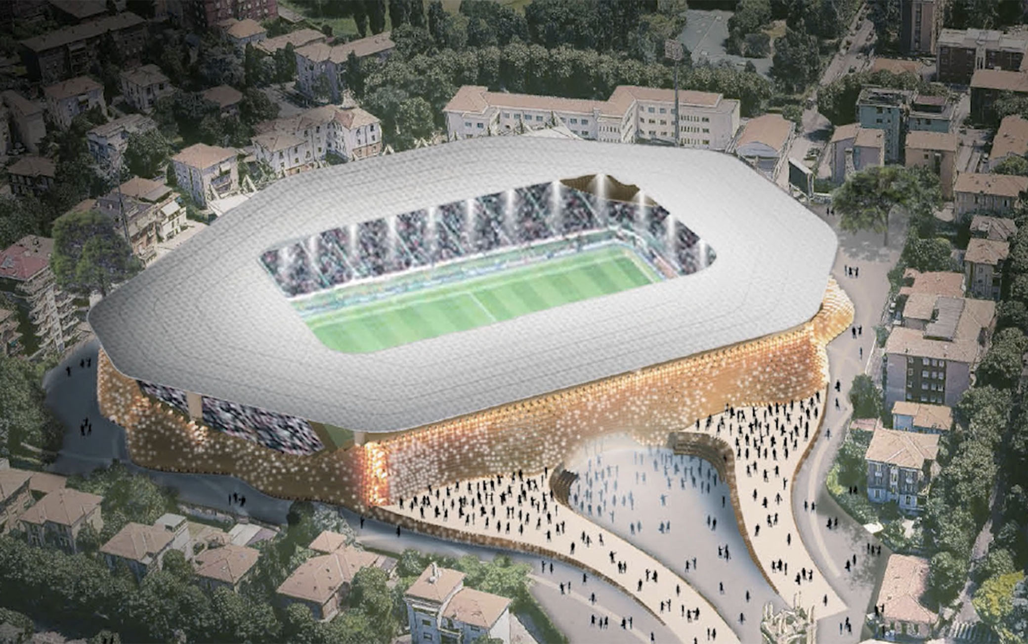 Una panoramica del nuovo stadio Tardini mostrata nel progetto