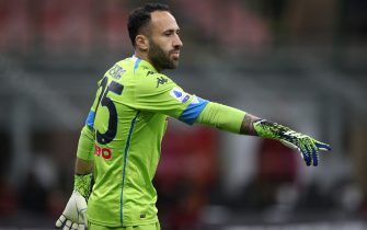 David Ospina of SSC Napoli during the Serie A match at Giuseppe Meazza, Milan. Picture date: 14th March 2021. Picture credit should read: Jonathan Moscrop/Sportimage via PA Images