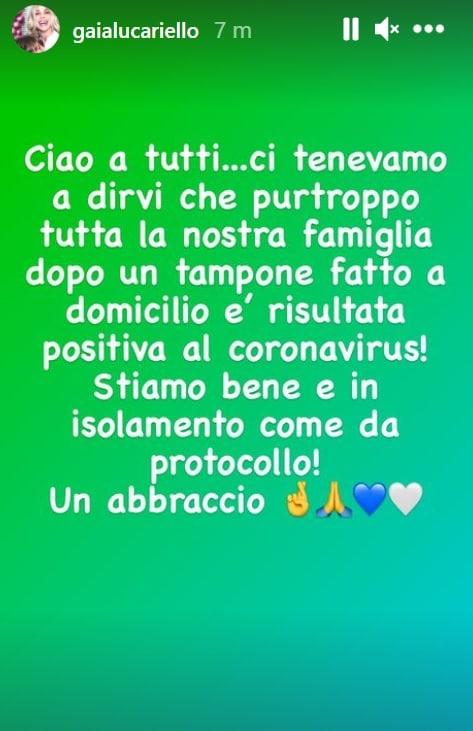 Il messaggio di Gaia Lucariello su Instagram